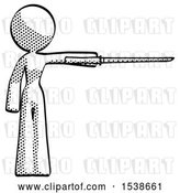 Clip Art of Retro Lady Standing with Ninja Sword Katana Pointing Right by Leo Blanchette