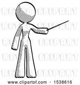Clip Art of Retro Lady Teacher or Conductor with Stick or Baton Directing by Leo Blanchette