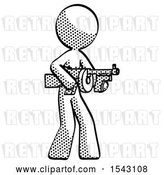 Clip Art of Retro Lady Tommy Gun Gangster Shooting Pose by Leo Blanchette