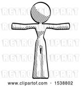 Clip Art of Retro Lady T-Pose Arms up Standing by Leo Blanchette