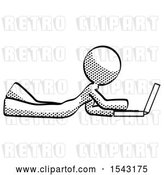 Clip Art of Retro Lady Using Laptop Computer While Lying on Floor Side View by Leo Blanchette