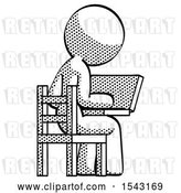Clip Art of Retro Lady Using Laptop Computer While Sitting in Chair View from Back by Leo Blanchette