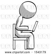 Clip Art of Retro Lady Using Laptop Computer While Sitting in Chair View from Side by Leo Blanchette