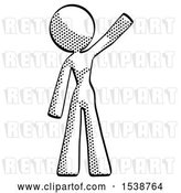 Clip Art of Retro Lady Waving Emphatically with Left Arm by Leo Blanchette
