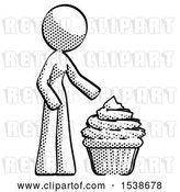 Clip Art of Retro Lady with Giant Cupcake Dessert by Leo Blanchette