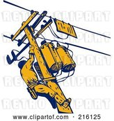 Clip Art of Retro Lineman on a Pole - 1 by Patrimonio