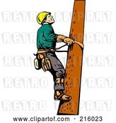Clip Art of Retro Lineman on a Pole - 10 by Patrimonio