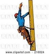 Clip Art of Retro Lineman on a Pole - 11 by Patrimonio
