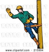 Clip Art of Retro Lineman on a Pole - 13 by Patrimonio