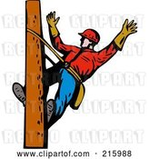 Clip Art of Retro Lineman on a Pole - 15 by Patrimonio