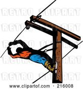 Clip Art of Retro Lineman on a Pole - 16 by Patrimonio