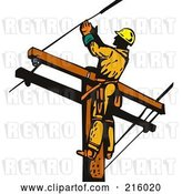 Clip Art of Retro Lineman on a Pole - 17 by Patrimonio