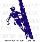 Clip Art of Retro Lineman on a Pole - 2 by Patrimonio