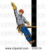 Clip Art of Retro Lineman on a Pole - 3 by Patrimonio