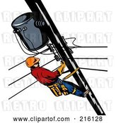 Clip Art of Retro Lineman on a Pole - 4 by Patrimonio
