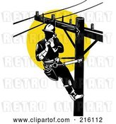 Clip Art of Retro Lineman on a Pole - 5 by Patrimonio