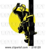 Clip Art of Retro Lineman on a Pole - 6 by Patrimonio