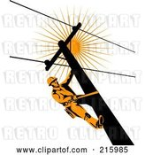 Clip Art of Retro Lineman on a Pole - 7 by Patrimonio