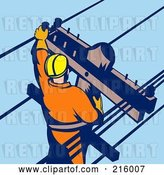 Clip Art of Retro Lineman on a Pole - 8 by Patrimonio