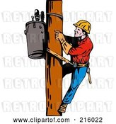 Clip Art of Retro Lineman on a Pole - 9 by Patrimonio