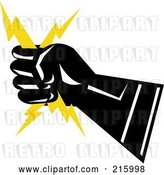 Clip Art of Retro Lineman Symbol of a Hand Holding Lightning by Patrimonio