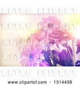 Clip Art of Retro Lit Floral Bouquet Background of Daisies and Roses by KJ Pargeter