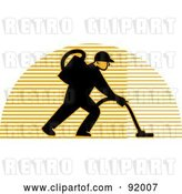 Clip Art of Retro Logo of a Carpet Cleaner Guy over a Lined Half Circle by Patrimonio