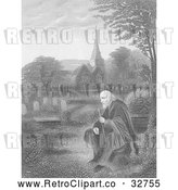 Clip Art of Retro Lone Old Man in a Cemetery near a Church, in Black and White by Picsburg