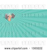 Clip Art of Retro Low Polygon Geometric Hand Holding up a Dumbbel and Turquoise Rays Background or Business Card Design by Patrimonio