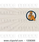 Clip Art of Retro Male Construction Worker Giving a Thumb up in a Circle and Taupe Rays Background or Business Card Design by Patrimonio