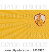 Clip Art of Retro Male Construction Worker Giving a Thumb up in a Shield and Yellow Rays Background or Business Card Design by Patrimonio