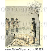 Clip Art of Retro Man over a Grave and Firing Squad Ready by Prawny Vintage