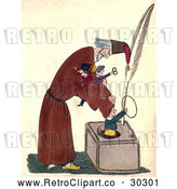 Clip Art of Retro Man Putting Toys in a Large Ink Well by Prawny Vintage