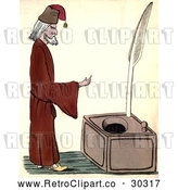 Clip Art of Retro Man Standing by a Large Ink Well by Prawny Vintage