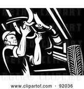 Clip Art of Retro Mechanic Working Under a Car by Patrimonio