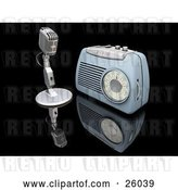 Clip Art of Retro Microphone and Blue Radio on a Reflective Black Surface by KJ Pargeter
