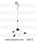 Clip Art of Retro Microphone on a Stand in a Recording Studio, on a White Background by KJ Pargeter
