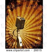 Clip Art of Retro Microphone over a Bursting Orange Background with Grunge Splatters by KJ Pargeter
