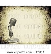 Clip Art of Retro Microphone over a Grunge Background Bordered by Music Notes by KJ Pargeter