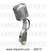 Clip Art of Retro Microphone with a Switch, on a White Background by KJ Pargeter