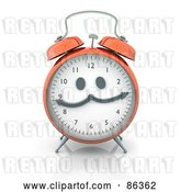 Clip Art of Retro Orange Alarm Clock with a Face by Mopic