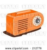 Clip Art of Retro Orange Radio by Patrimonio
