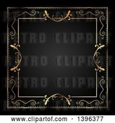 Clip Art of Retro Ornate Gold Frame Bordering Black by KJ Pargeter