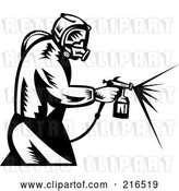 Clip Art of Retro Painter Using a Spray Tool by Patrimonio