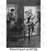 Clip Art of Retro Parents and Grandparents with KChildren at a Door in by Picsburg