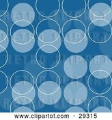Clip Art of Retro Patterned Background of Blue and Light Blue Circles and White Outlines by KJ Pargeter