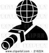 Clip Art of Retro Photographer with a Globe Head by Patrimonio