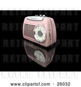 Clip Art of Retro Pink Radio with a Station Dial, on a Reflective Black Surface by KJ Pargeter