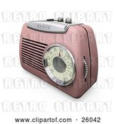 Clip Art of Retro Pink Radio with a Station Dial, on a White Surface by KJ Pargeter