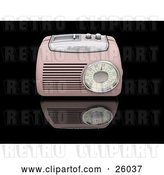 Clip Art of Retro Pink Radio with a Station Tuner, on a Reflective Black Surface by KJ Pargeter